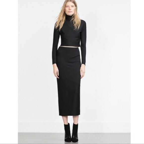 972f92af2 Zara Skirts | Black Rubbed Long Sleeve Crop Top Skirt Set | Poshmark